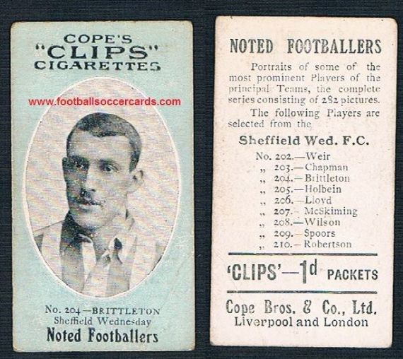 1910 Cope Brothers Noted Footballers 282 series Brittleton Sheffield Wednesday Stoke City 204